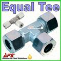 38S Equal TEE Tube Coupling Union (38mm Metric Compression Pipe T Fitting)